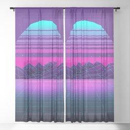 Future Sunset Vaporwave Aesthetic Sheer Curtain