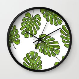 UrbanNesian Green Monstera Leaf Wall Clock