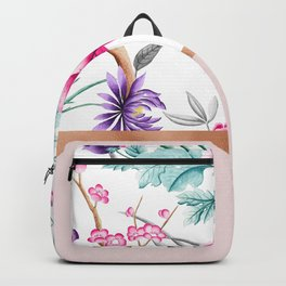 Chinoiserie pearl white floral & rose gold Backpack