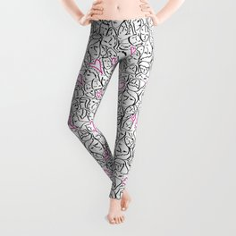Elios Shirt Faces with Valentine Hearts in Black Outlines with Hot Pink Bordered Hearts Leggings
