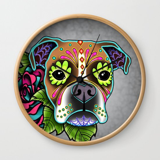 Boxer in White Fawn - Day of the Dead Sugar Skull Dog by prettyinink