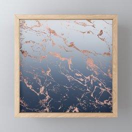 Modern grey navy blue ombre rose gold marble pattern Framed Mini Art Print