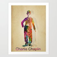 chaplin Art Prints featuring charlie chaplin by mark ashkenazi