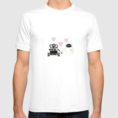 pixar walle and eve love and romance... minimalistic White Mens Fitted Tee MEDIUM