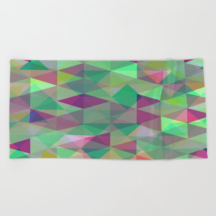 Pastel Triangles Pattern - Abstract, geometric, pastel coloured artwork Beach Towel