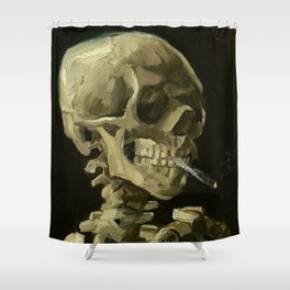SKULL OF A SKELETON WITH BURNING CIGARETTE - VINCENT VAN GOGH Shower Curtain