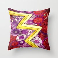 lightning Throw Pillows featuring Lightning by DuckyB
