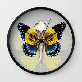 Bird skull and yellow roses Wall Clock
