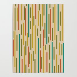 Mid Century Mod Line Dance Pattern in Orange, Teal, Mustard, Olive, and Beige Poster