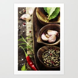 wooden bowls with fresh herbs and spices ( garlic, pepper, bay leaves, salt) Art Print