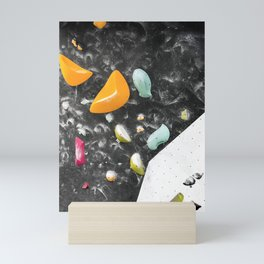 Colorful summer bouldering gym wall climbing holds girls Mini Art Print