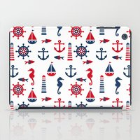 navy iPad Cases featuring Navy by Valmo. Surface pattern design by Valeria