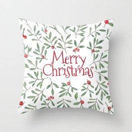 Watercolor Mistletoe Throw Pillow