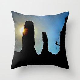 Rock Climbing Mountaineer Throw Pillow