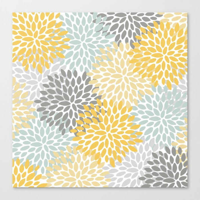Floral Pattern, Yellow, Pale, Aqua and Gray Leinwanddruck