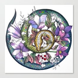 Snake and flowers Canvas Print