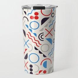 Seamless Jumble Shapes in Blue Red White Color Geometric Retro Pattern  Travel Mug