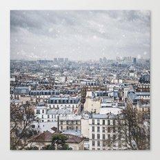 Snowy Paris Canvas Print