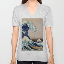 Under the Great Wave by Hokusai Unisex V-Neck
