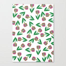 patron de tulipanes coloridos Canvas Print