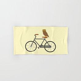 Owl Riding Bike Hand & Bath Towel