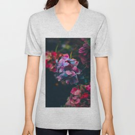 Beautiful Purple Blue Summer Hydrangea Dark Green Sensual Leaves Unisex V-Neck