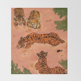 Tiger Beach Throw Blanket