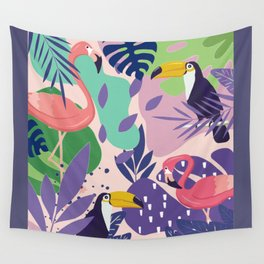 Tropical Jungle With Flamingos And Toucans Memphis Style Wall Tapestry