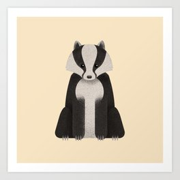 Woodland Critters Series: Badger Art Print