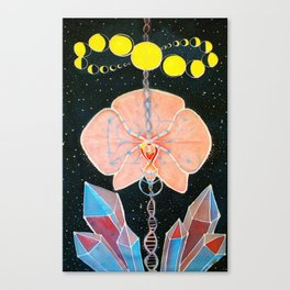 Moon Orchid Flower Space Tapestry Crystals Sacred Geometry Metatron's Cube Visionary Art Canvas Print