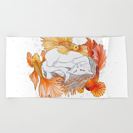 Cat and Golden Fishes Beach Towel