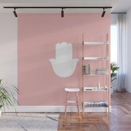 White Hamsa Hand on Light Pink Background Wall Mural