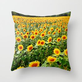 Field of Sunny Flowers Throw Pillow