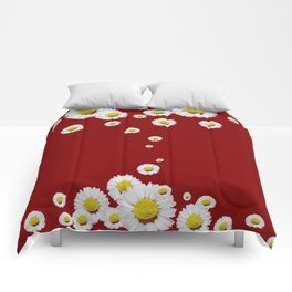 WHITE CASCADING DAISIES ON BURGUNDY Comforters