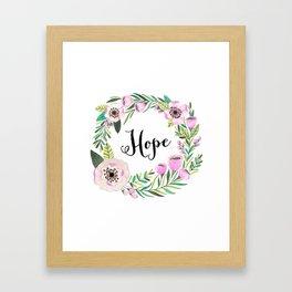 Hope Lettering Watercolor Ilustration Framed Art Print