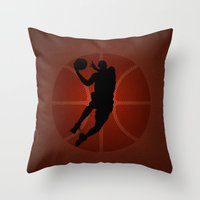 lakers Throw Pillows featuring SLAM DUNK - JORDAN by alexa