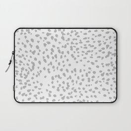 grey spots minimalist decor modern gifts grey and white polka dot brushstroke painting Laptop Sleeve