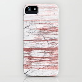 Elegant faux rose gold brushstrokes gray marble iPhone Case