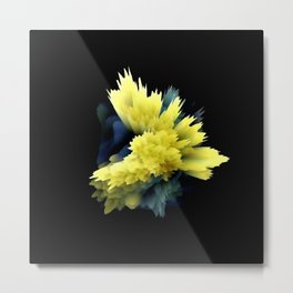yellow indigo blue flower abstract 3d painting Metal Print