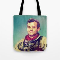 murray Tote Bags featuring Space Murray by rubbishmonkey