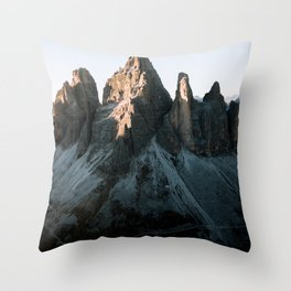 Tre Cime in the Dolomites Mountains at dusk - Landscape Photography Throw Pillow