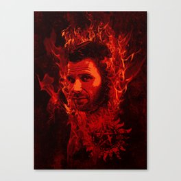 Lucifer in flames Canvas Print
