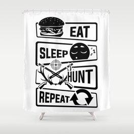 Eat Sleep Hunt Repeat - Hunting Hunter Trophy Deer Shower Curtain