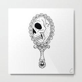 Skull in Vintage Mirror Illustration Metal Print