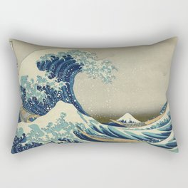 The Classic Japanese Great Wave off Kanagawa Print by Hokusai Rechteckiges Kissen