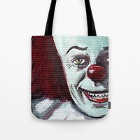 pennywise Tote Bags featuring Pennywise the Clown by Minerva Torres-Guzman