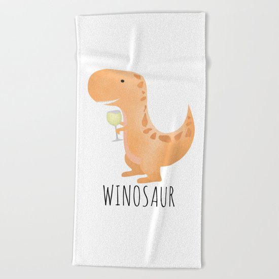 Winosaur | White Wine Beach Towel