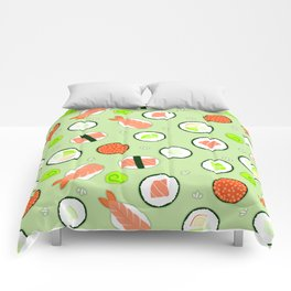 Cute Sushi Pattern Green  Comforters