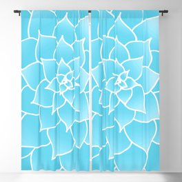 Blue Abstract Succulent Flower Blackout Curtain