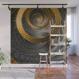 Banded Dragon Scales of Black, Gold, and Yellow Wall Mural